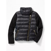 Quilted Nylon Moto Fusion Jacket for Girls