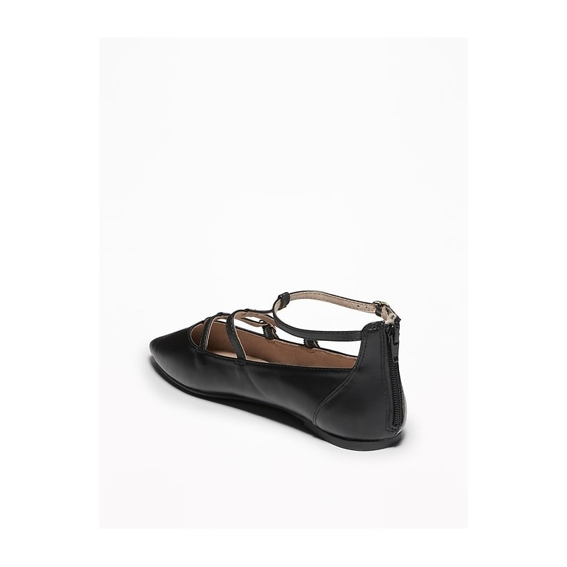 T-Strap Pointed-Toe Ballet Flats for Women