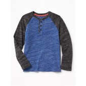Color-Block Raglan-Sleeve Henley for Boys