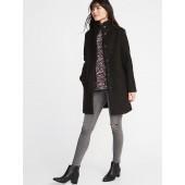 Mock-Neck Boucle Coat for Women