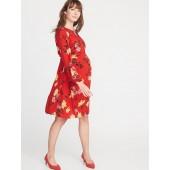 Maternity Floral Waist-Defined Dress