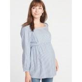 Maternity Striped Twill Square-Neck Tunic