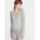 Maternity Patterned Thermal-Knit V-Neck Tee