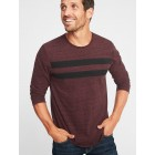 Slub-Knit Chest-Stripe Tee for Men