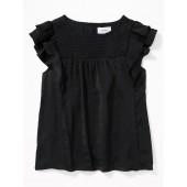 Smocked Flutter-Sleeve Satin Top for Girls