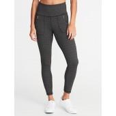 High-Rise Zip-Pocket 7/8-Length Street Leggings for Women