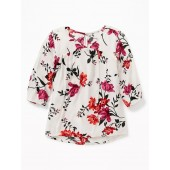 Printed Crepe 3/4-Sleeve Blouse for Girls