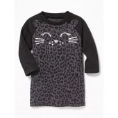Kitty-Graphic Raglan Sweatshirt Dress for Baby