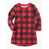 Buffalo Plaid Sleep Dress for Toddler Girls