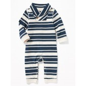 Striped Shawl-Collar One-Piece for Baby
