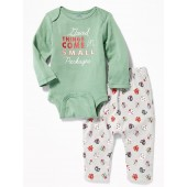2-Piece Holiday-Graphic Bodysuit & Pants Set for Baby