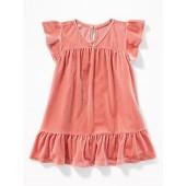 Ruffle-Trim Velvet Dress for Baby