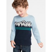 Mountain-Graphic Crew-Neck Sweater for Toddler Boys