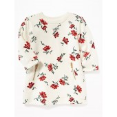 Floral French-Terry Zip-Pocket Dress for Baby
