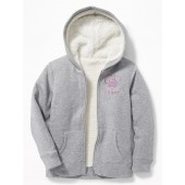 Graphic Sherpa-Lined Zip Hoodie for Girls
