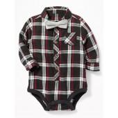 Plaid Bodysuit & Bow-Tie Set for Baby