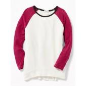 Plush-Knit Baseball Tunic Sweater for Girls