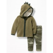 Dino-Critter Zip Hoodie and Camo Pants Set for Baby