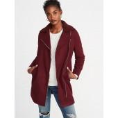 Long-Line Brushed-Felt Sherpa-Collar Moto Jacket for Women
