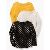 3-Pack Long & Lean Scoop-Neck Top for Toddler Girls