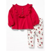 Ruffle-Trim Top and Leggings Set for Baby