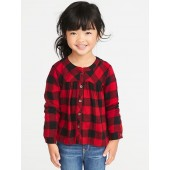 Plaid Button-Front Top for Toddler Girls