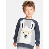 Llama-Graphic Raglan Sweatshirt for Toddler Boys