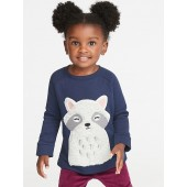 Plush Critter-Graphic Tunic Sweatshirt for Toddler Girls