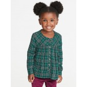 Plaid Button-Front Shirt for Toddler Girls