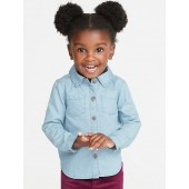 Chambray Button-Front Shirt for Toddler Girls