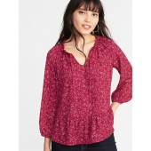 Floral Ruffled Georgette Swing Blouse for Women