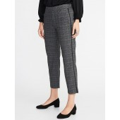 Mid-Rise Plaid Side-Stripe Pull-On Trousers for Women