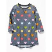 Heart-Print Sleep Dress for Toddler & Baby