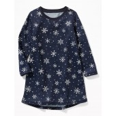 Snowflake-Print Sleep Dress for Toddler Girls