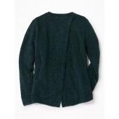 Boucle-Knit Split-Back Sweater for Girls