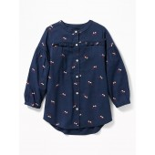 Printed Ruffle-Yoke Twill Shirt for Girls