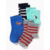 4-Pack Printed Ankle Socks for Toddler & Baby