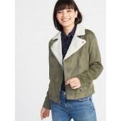 Faux-Suede Sherpa-Collar Moto Jacket for Women