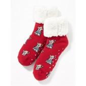 Printed Sherpa Slipper Socks for Girls