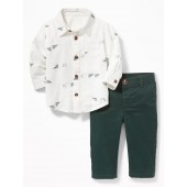 Button-Front Shirt and Pants Set for Baby