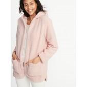 Hooded Open-Front Sherpa Sweater for Women