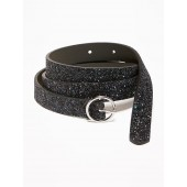Skinny Glitter O-Ring Belt for Women
