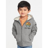 Sherpa-Lined Logo-Graphic Zip Hoodie for Toddler Boys