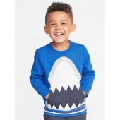 Shark-Graphic Crew-Neck Sweatshirt for Toddler Boys