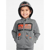 Robot-Graphic Zip Hoodie for Toddler Boys