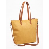 Faux-Suede Zip-Top Tote for Women