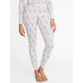 Patterned Thermal-Knit Sleep Leggings for Women
