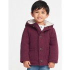Button-Front Sweater-Fleece Hooded Coat for Toddler Boys