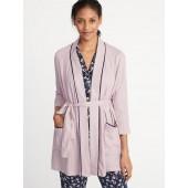 Soft-Twill Tie-Belt Robe for Women