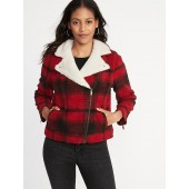 Plaid Sherpa Moto Jacket for Women